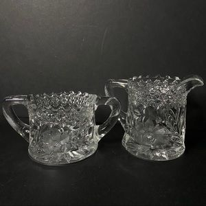 Vtg Crystal Cut Glass Etched Sugar & Creamer Set